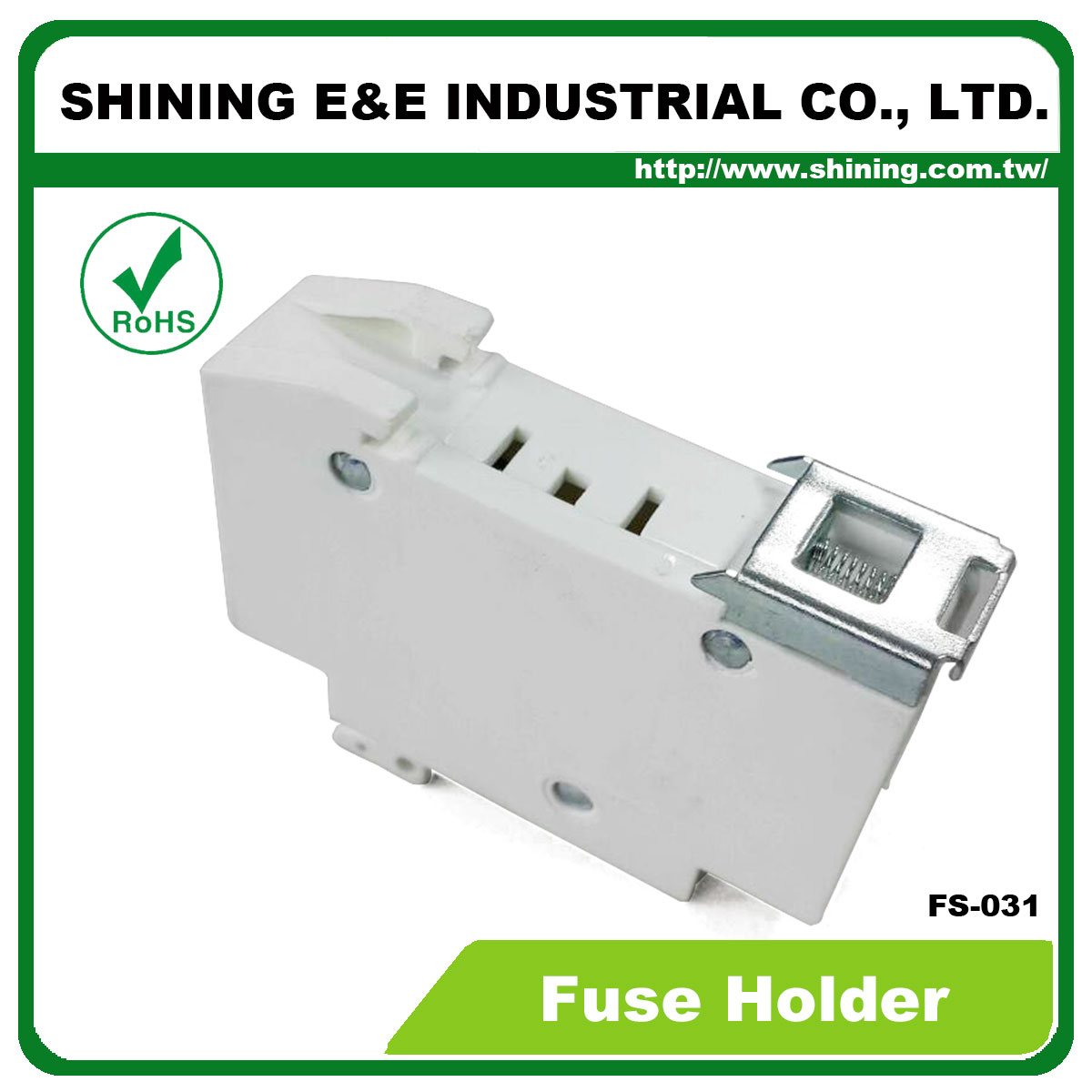 Taiwan Fs 031 600v 32a 1 Pole Din Rail Mounted Cylindrical Fuse Electrical Fuses Holders Circuit Breakers