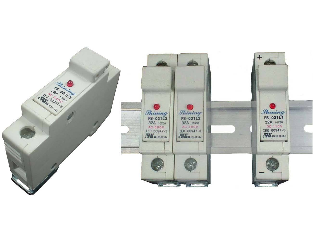 taiwan fs 032l3 600v 32a 1 way din rail mounted cylindrical fuse