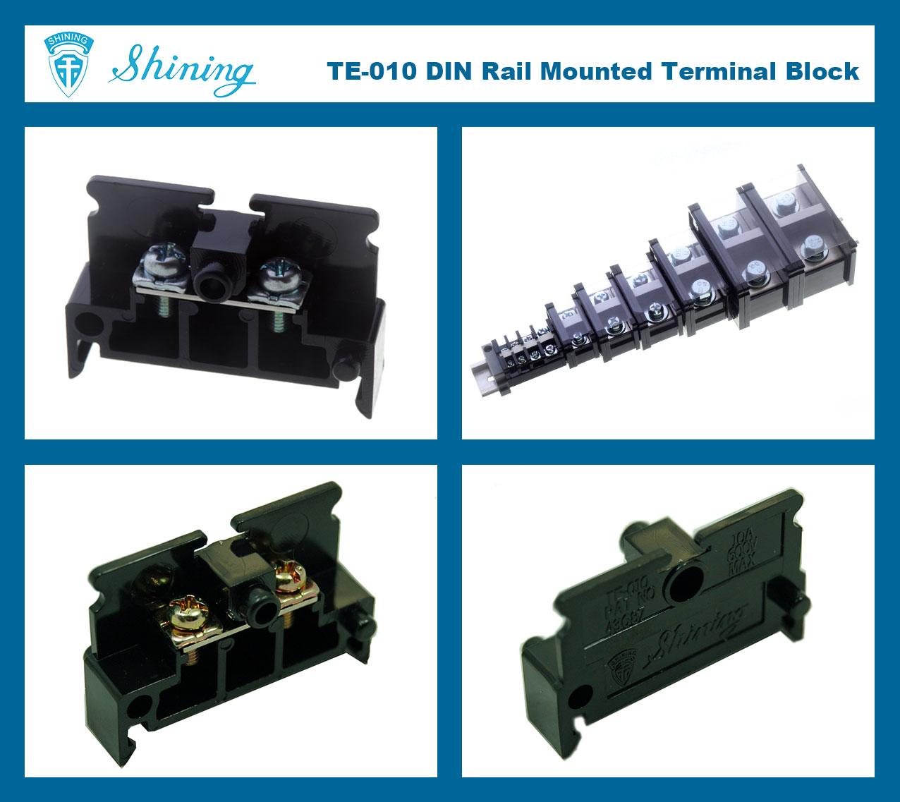 SHINING-TE-010 35mm Din Rail Mounted Assembly Type 600V 10A Terminal Strip