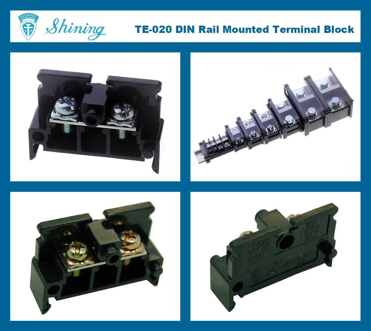 SHINING-TE-020 35mm Din Rail Mounted Assembly Type 600V 20A Terminal Strip