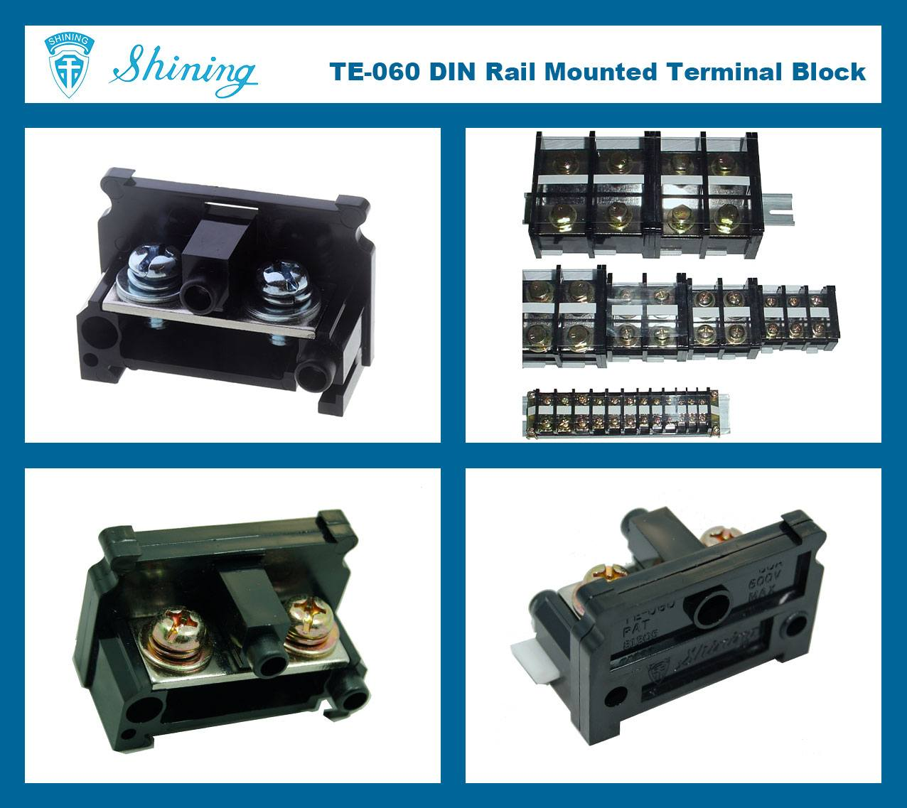 SHINING-TE-060 35mm Din Rail Mounted Assembly Type 600V 60A Terminal Strip