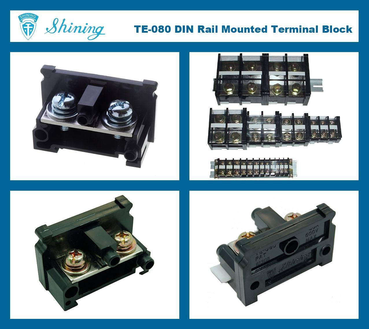 SHINING-TE-080 35mm Din Rail Mounted Assembly Type 600V 80A Terminal Strip