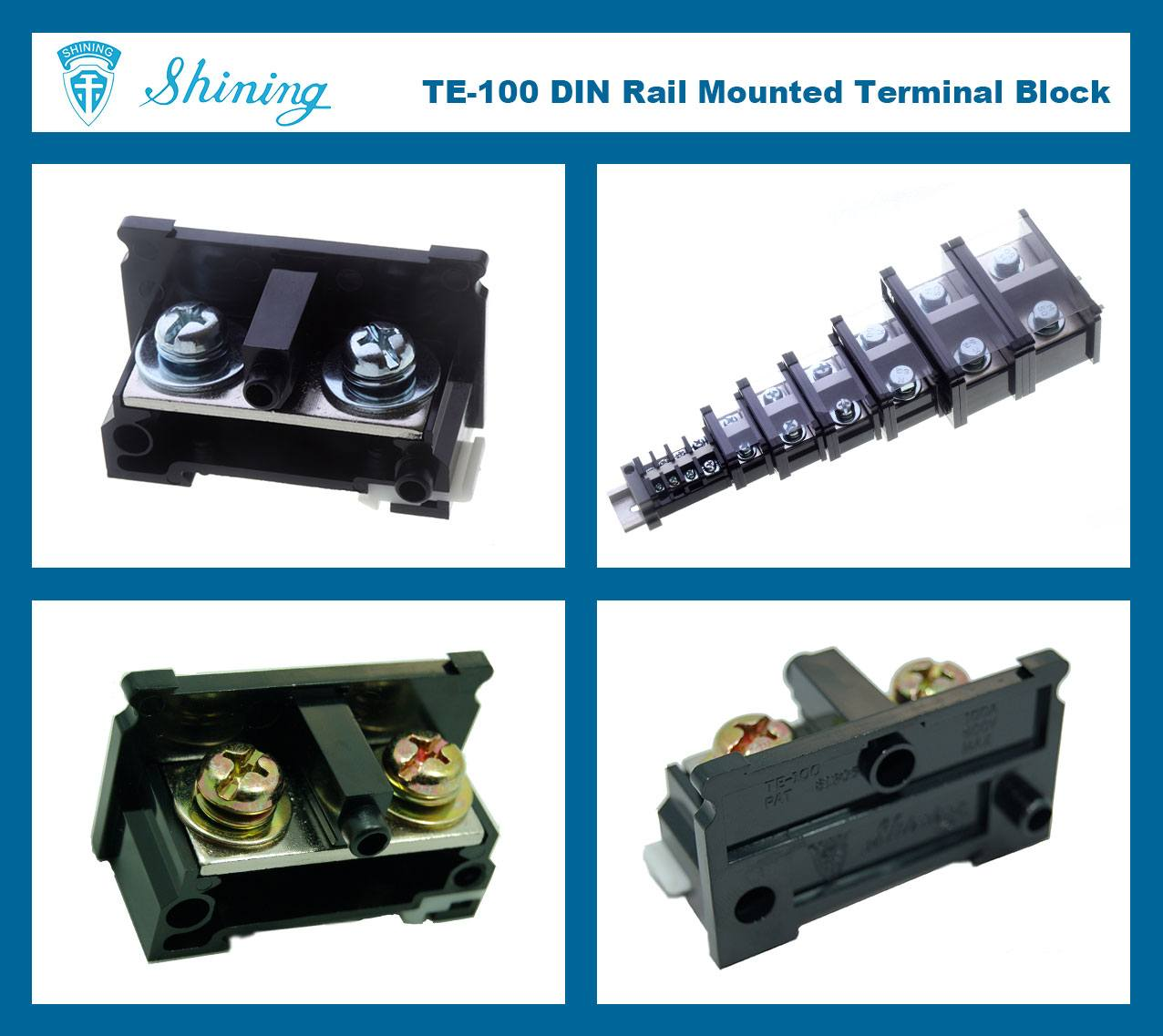 SHINING-TE-100 35mm Din Rail Mounted Assembly Type 600V 100A Terminal Strip