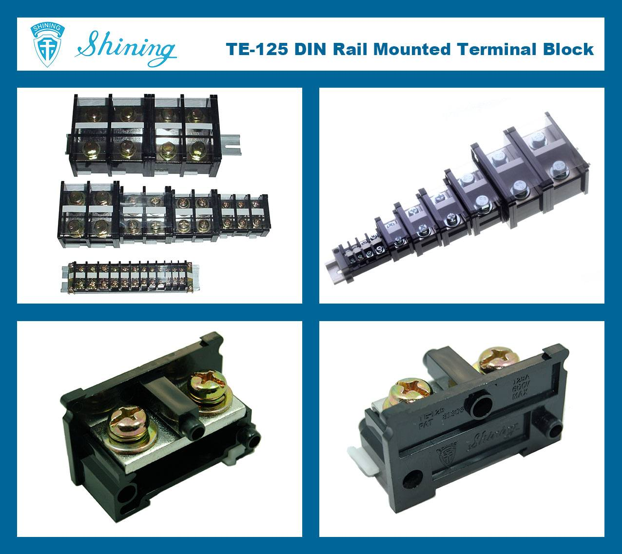 SHINING-TE-125 35mm Din Rail Mounted Assembly Type 600V 125A Terminal Strip