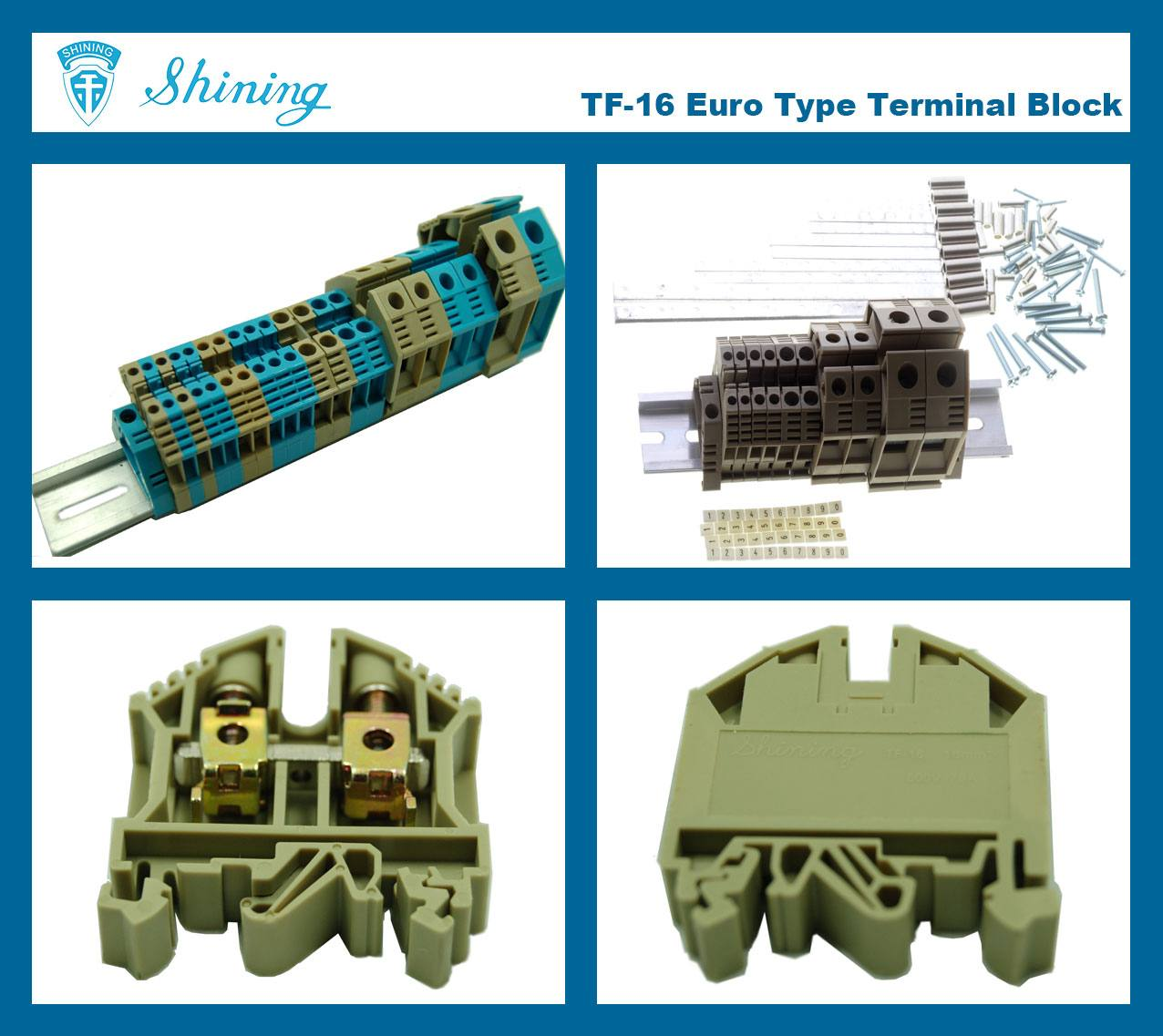 TF-16 Euro Type 16mm Feed Through Terminal Block