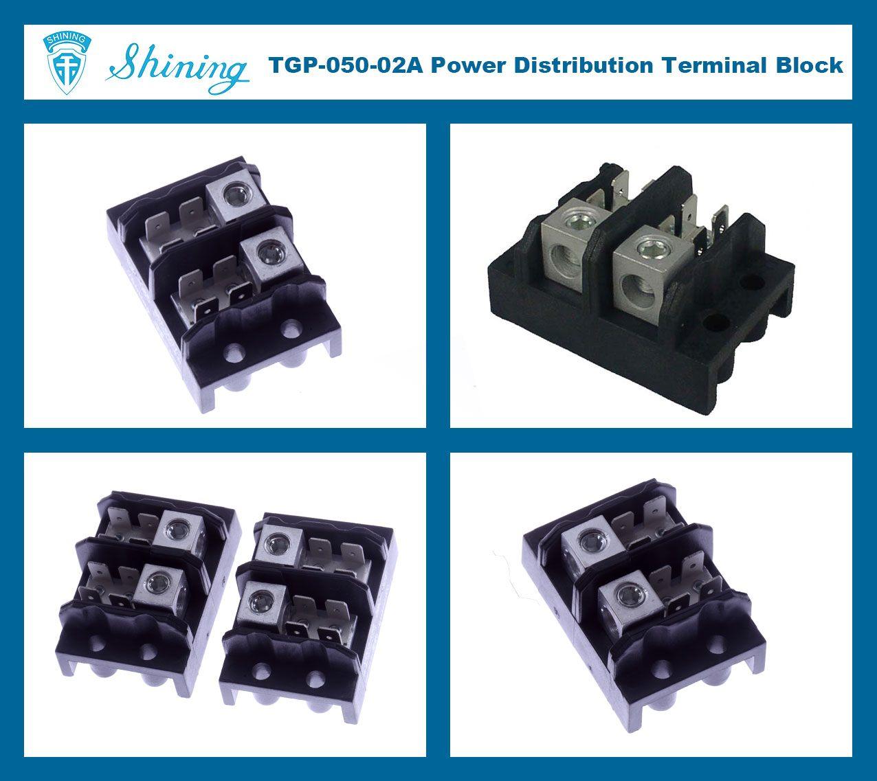 TGP-050-02A 600V 50A 2 Pole Electrical Power Terminal Block