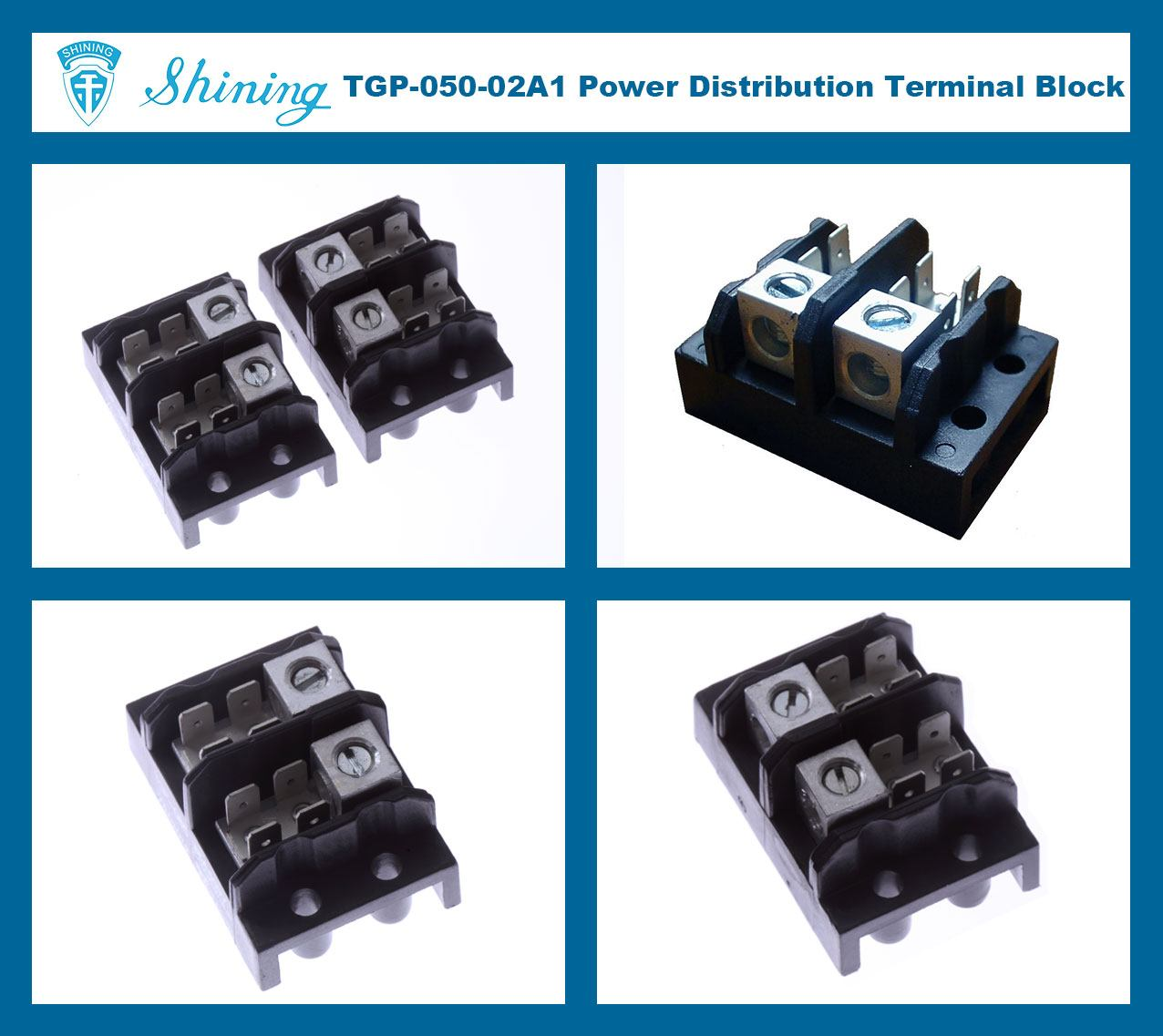 TGP-050-02A1 600V 50A 2 Pole Electrical Power Terminal Block