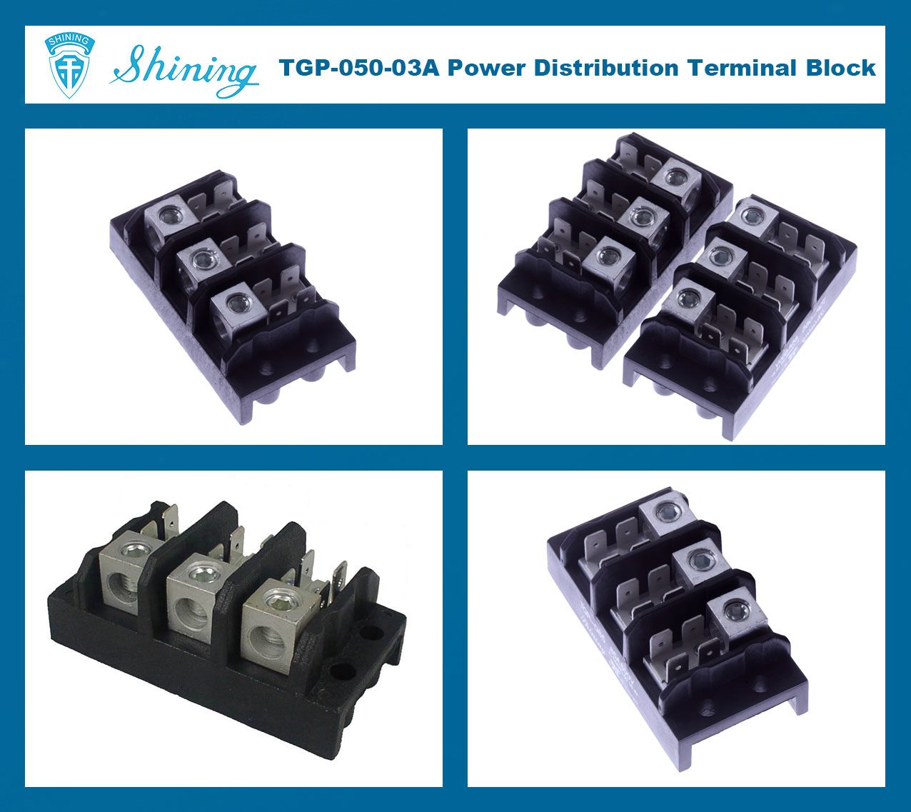 TGP-050-03A 600V 50A 3 Pole Electrical Power Terminal Block