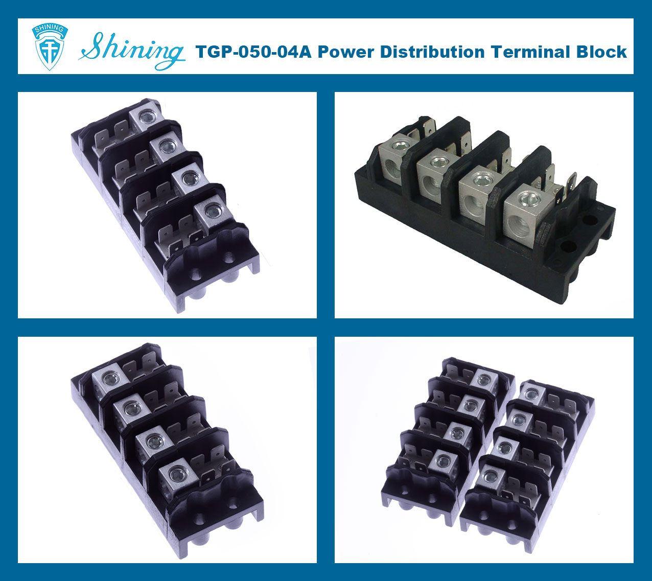 TGP-050-04A 600V 50A 4 Pole Electrical Power Terminal Block