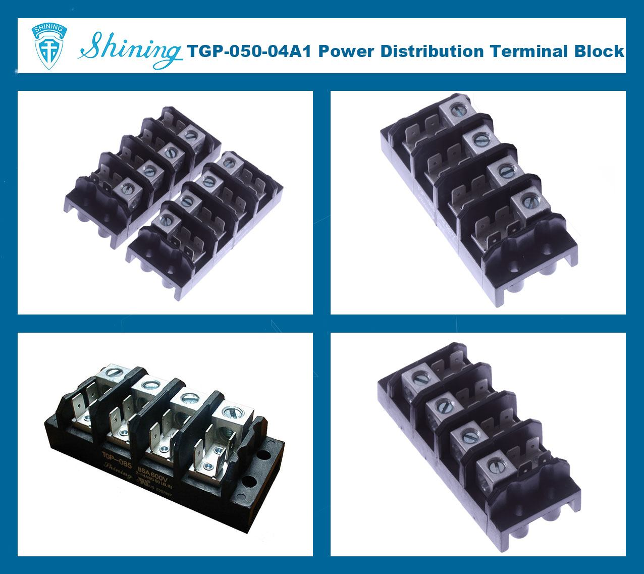 TGP-050-04A1 600V 50A 4 Pole Electrical Power Terminal Block