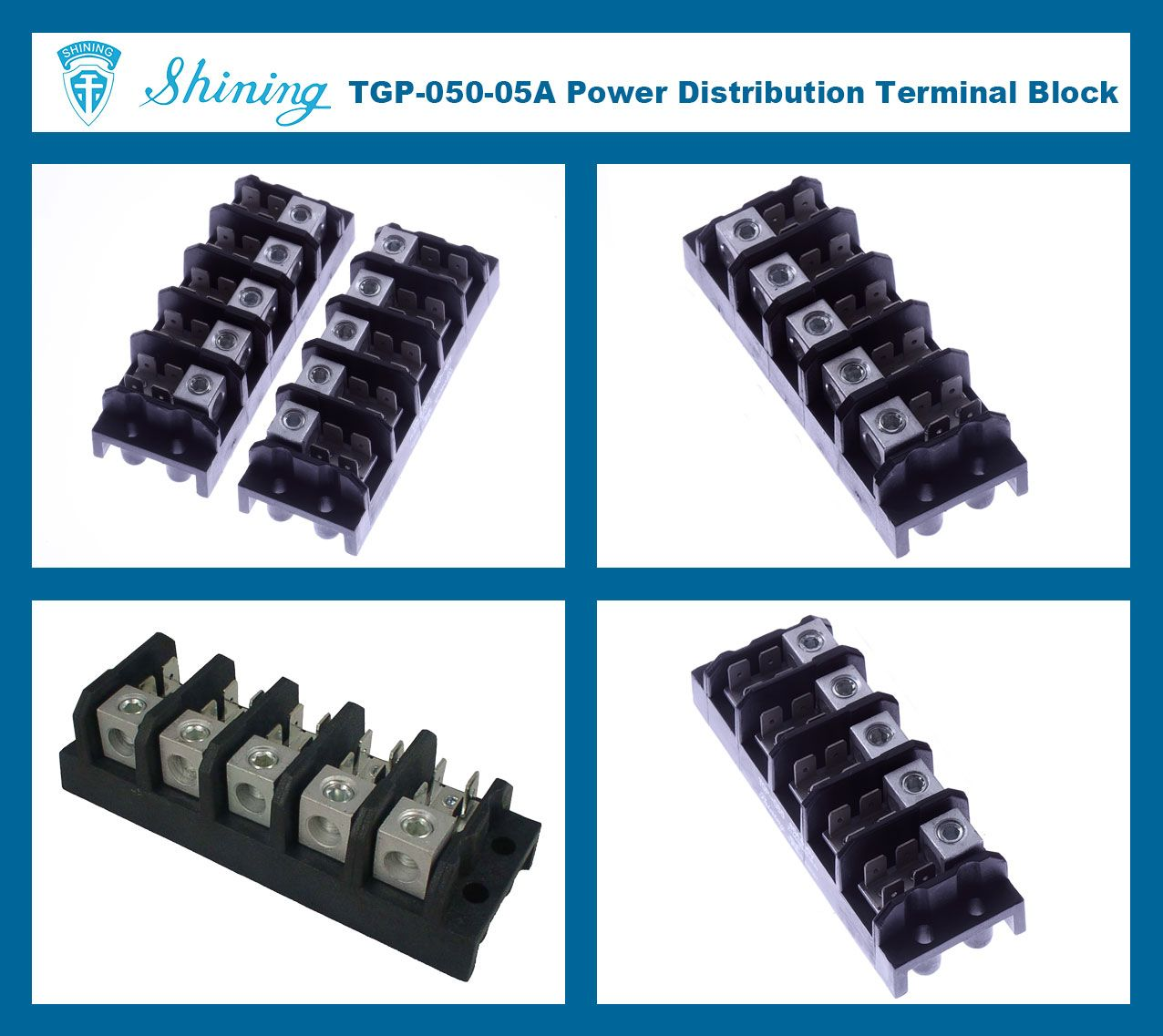 TGP-050-05A 600V 50A 5 Pole Electrical Power Terminal Block