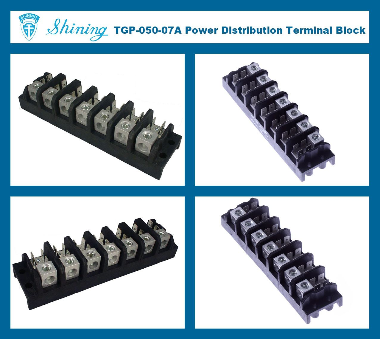 TGP-050-07A 600V 50A 7 Pole Electrical Power Terminal Block