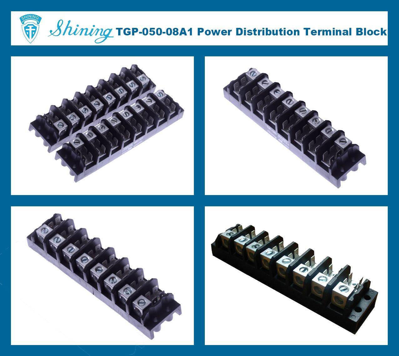 TGP-050-08A1 600V 50A 8 Pole Electrical Power Terminal Block