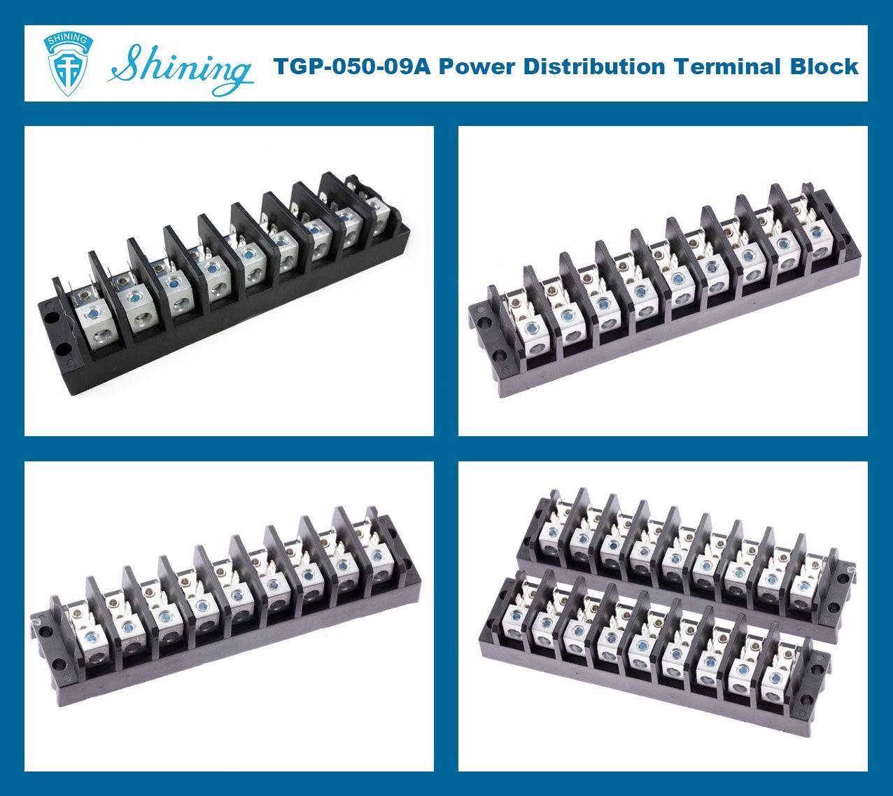 TGP-050-09A 600V 50A 9 Pole Electrical Power Terminal Block