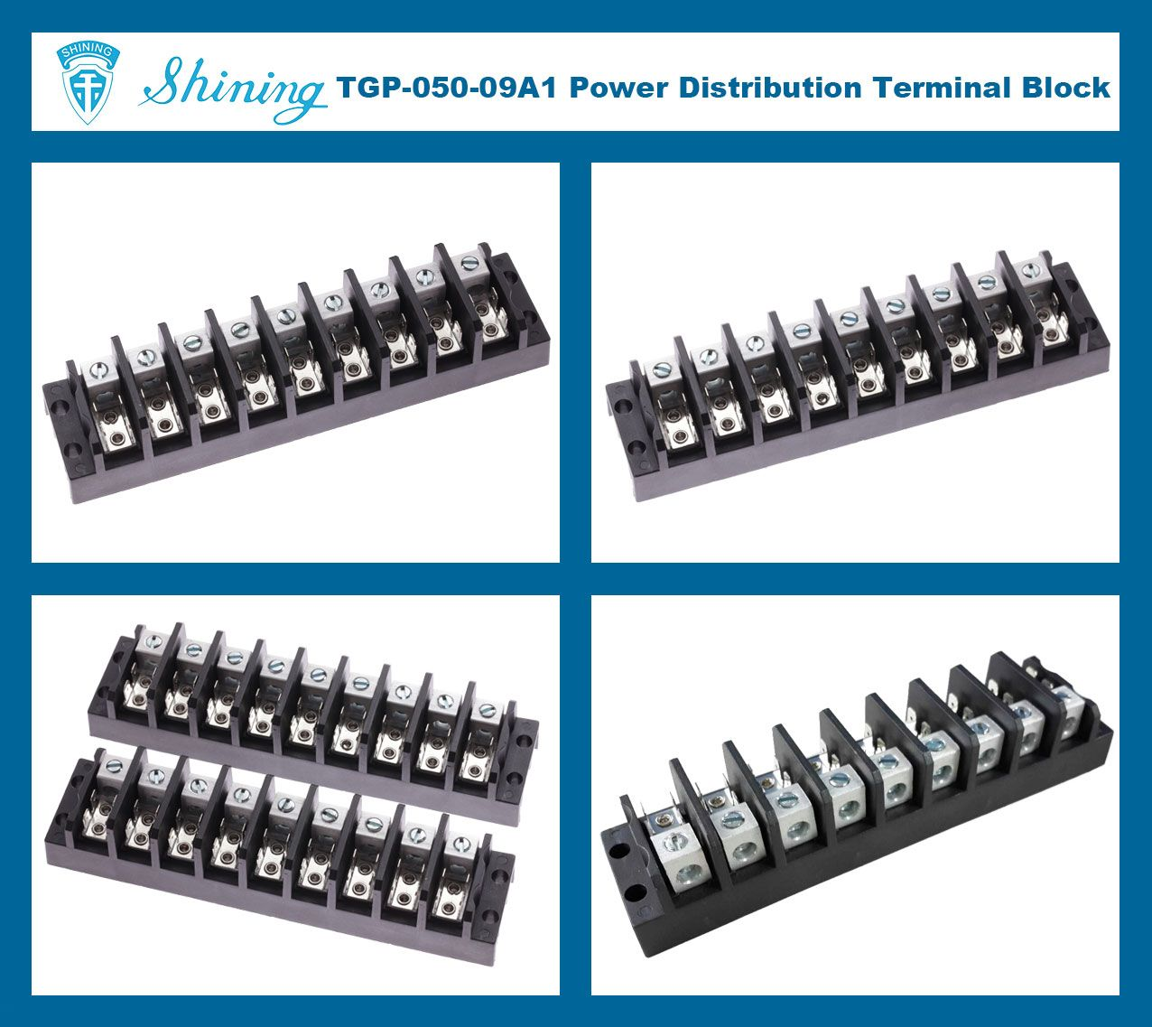 TGP-050-09A1 600V 50A 9 Pole Electrical Power Terminal Block