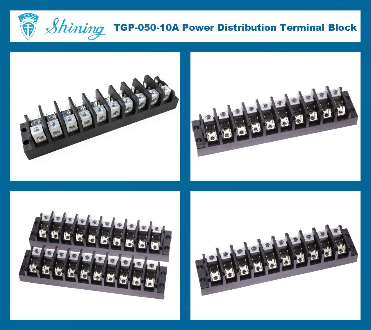 TGP-050-10A 600V 50A 10 Pole Electrical Power Terminal Block