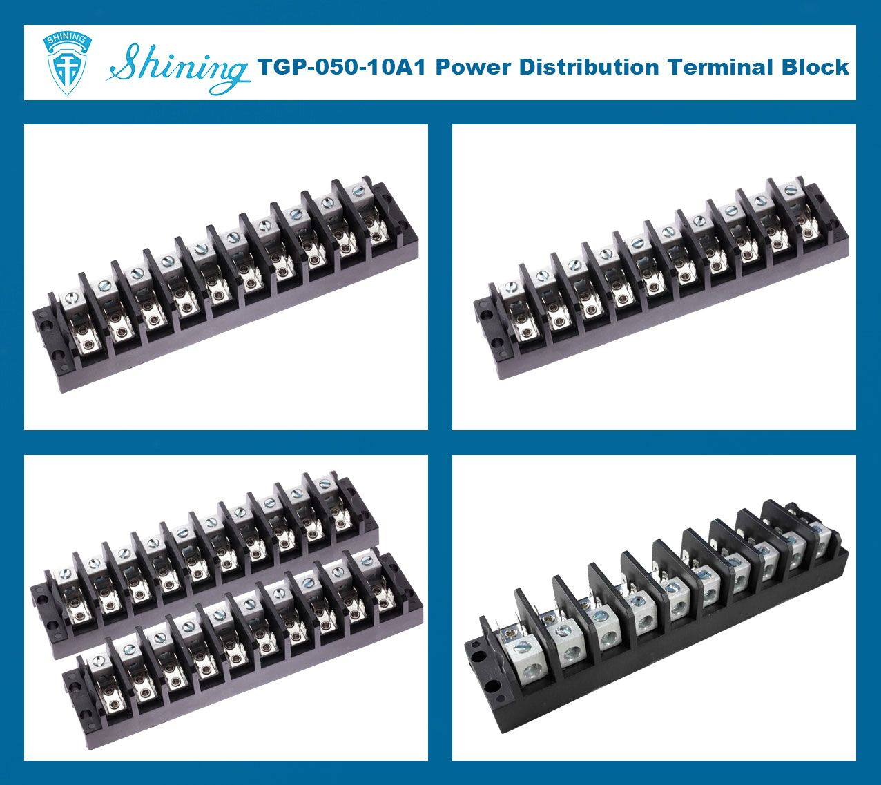 TGP-050-10A1 600V 50A 10 Pole Electrical Power Terminal Block