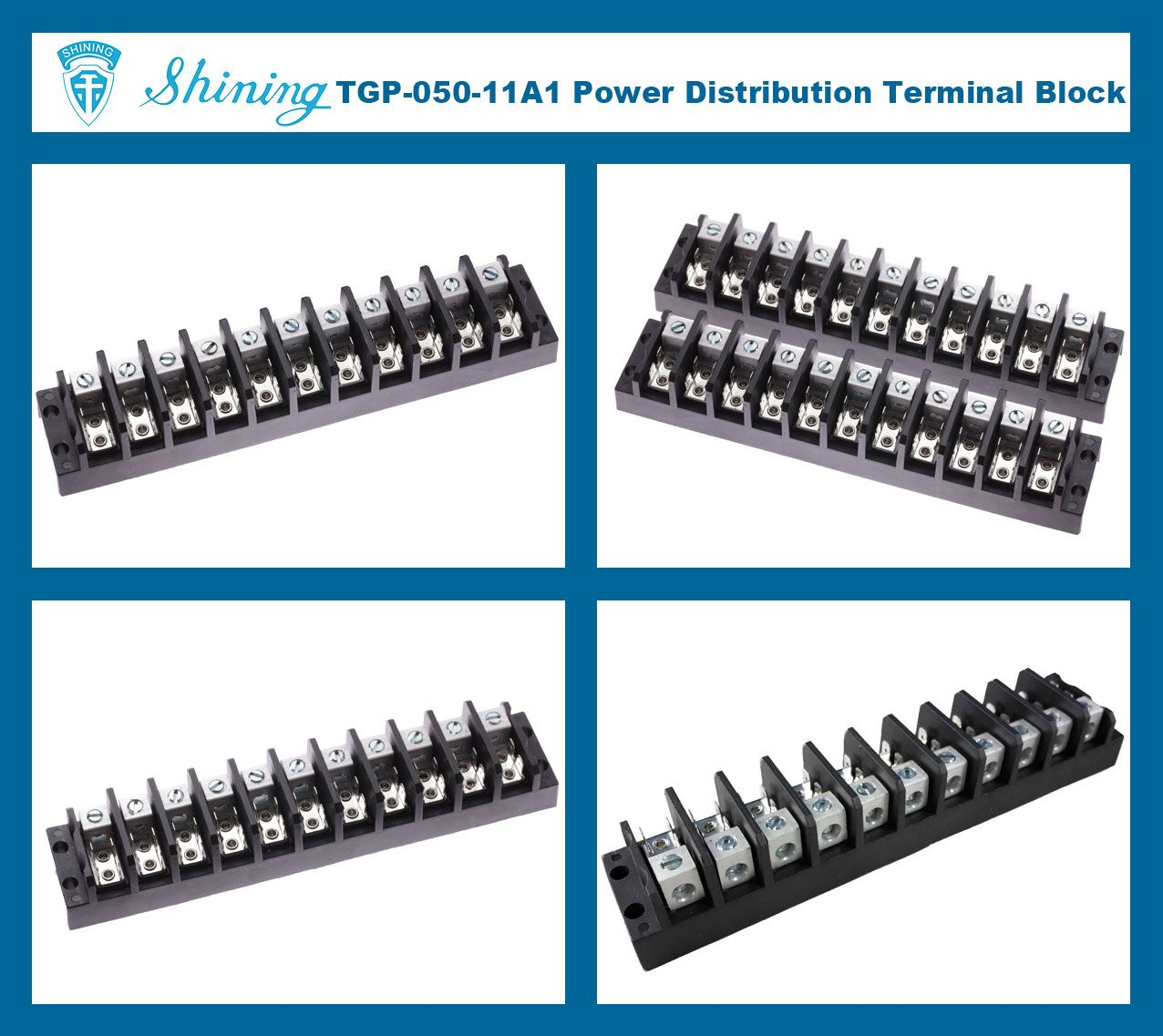 TGP-050-11A1 600V 50A 11 Pole Electrical Power Terminal Block
