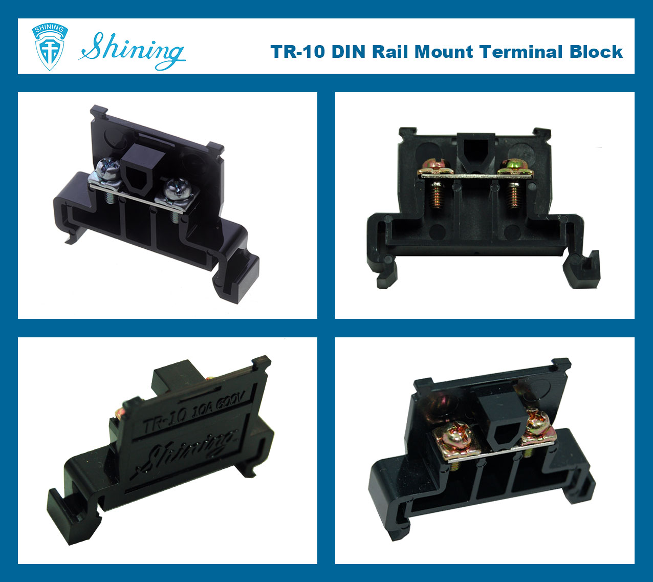 TR-10 35mm Rail Mounted Snap On Type 600V 10A Terminal Block Connector