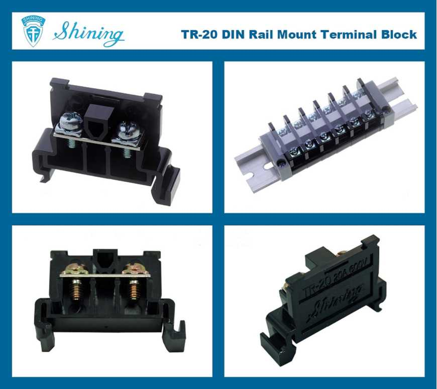 Shining E&E TR-20 35mm Rail Mounted Snap On Type 600V 20A Terminal ...
