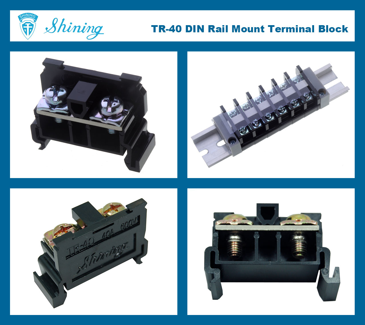 TR-40 35mm Rail Mounted Snap On Type 600V 40A Terminal Block Connector