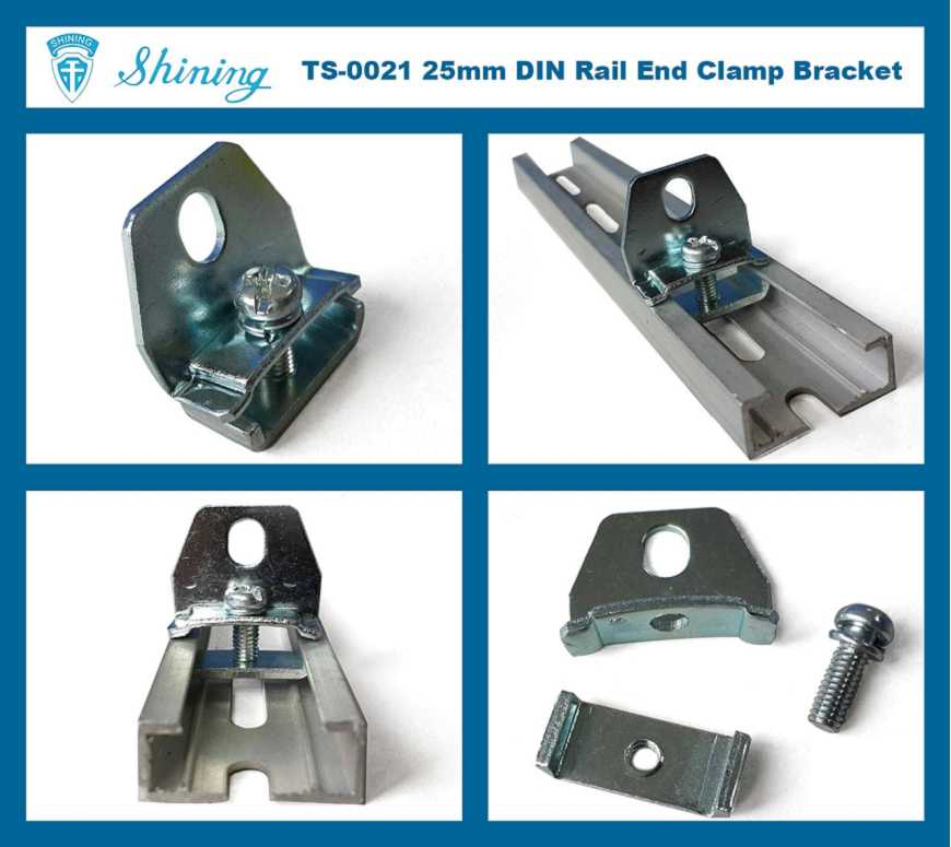 (TS-0021) Steel End Bracket For 25mm Din Mounting Rail