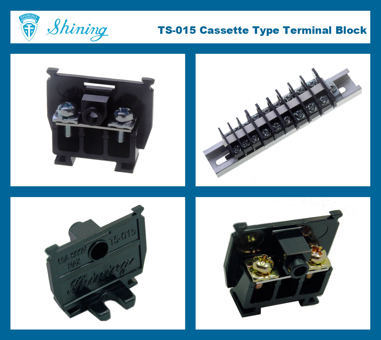 TS-015 25mm Din Rail Mounted Cassette Type 600V 15A Terminal Connector