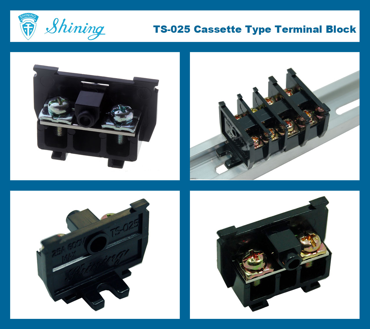 TS-025 25mm Din Rail Mounted Cassette Type 600V 25A Terminal Connector