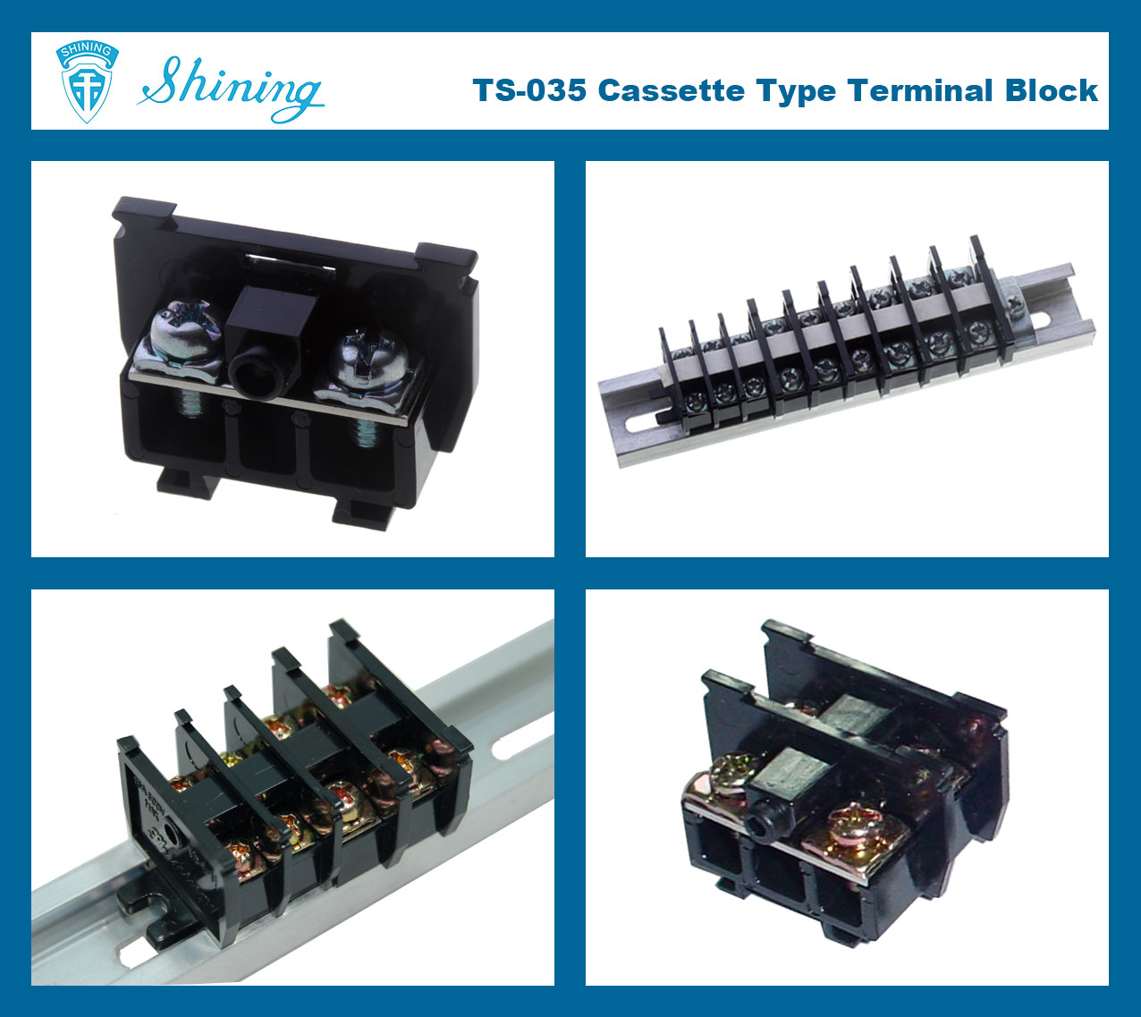 TS-035 25mm Din Rail Mounted Cassette Type 600V 35A Terminal Connector