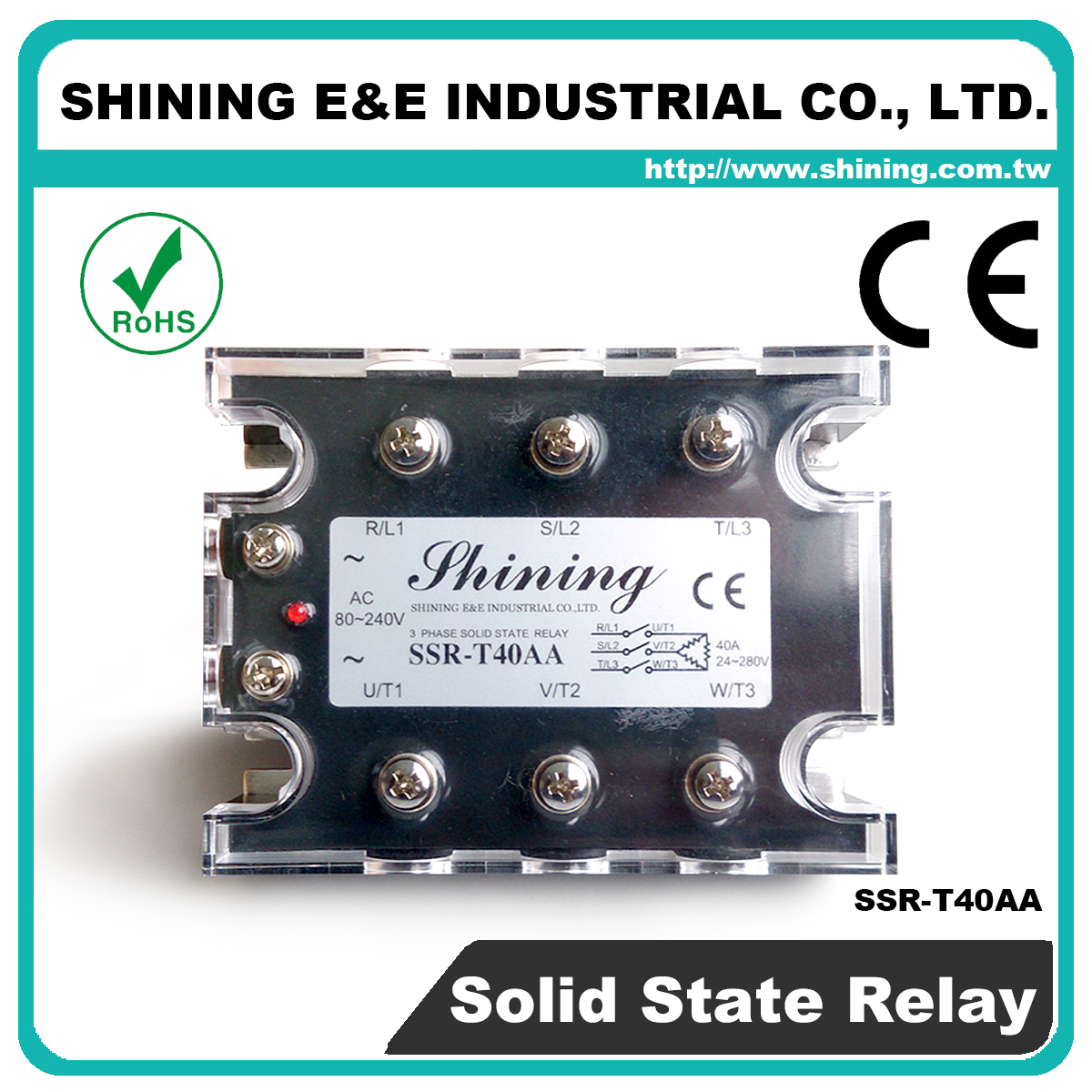 Taiwan Ssr T40aa Ac To Zero Cross Three Phase 40a Solid State Relay 240v
