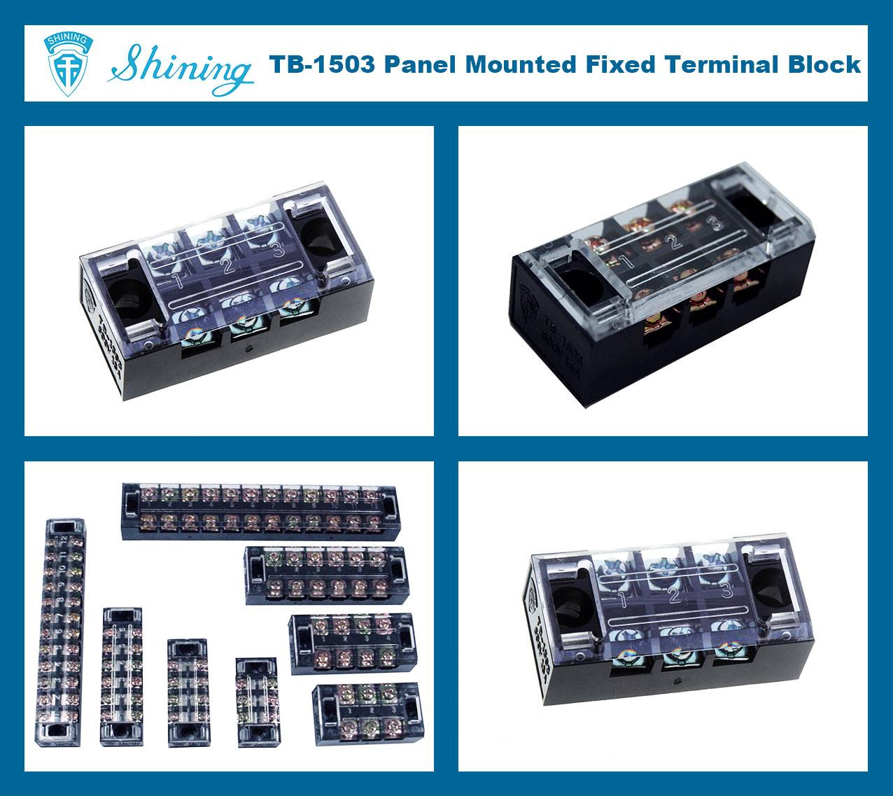 TB-1503 Panel Mounted Fixed Barrier 15A 3 Pole Terminal Block