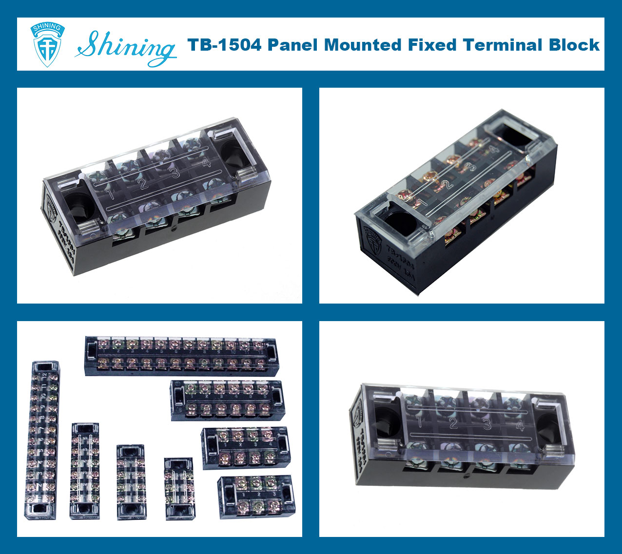 2 Package of Two 4 Position 15A 600V Terminal Block w//Cover RoHS Free #TB-1504