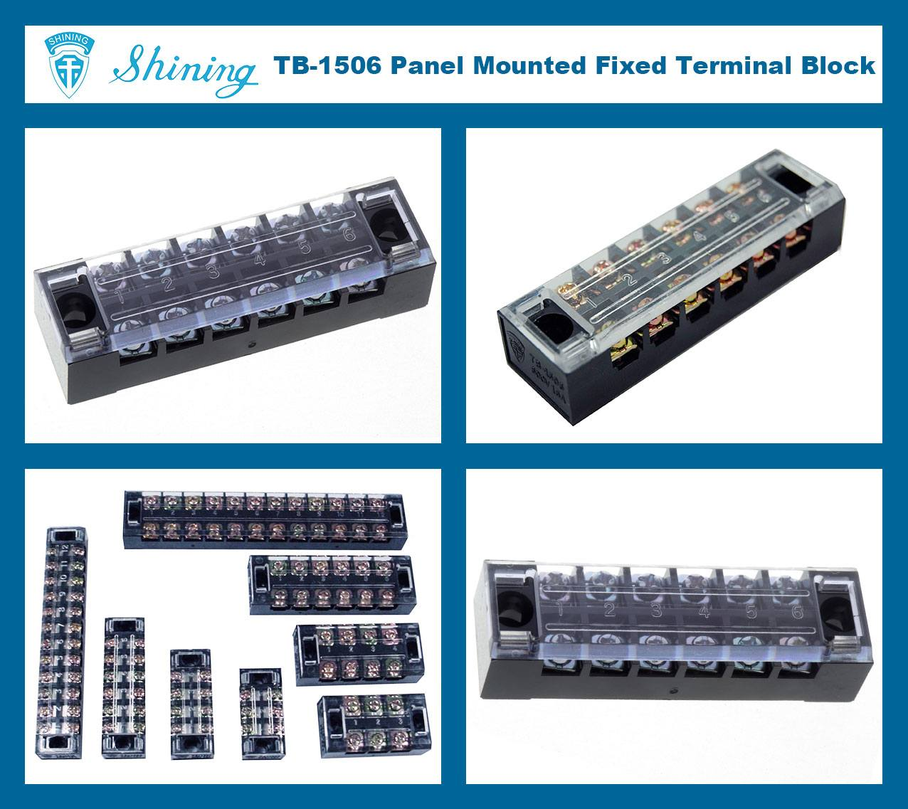 TB-1506 Panel Mounted Fixed Barrier 15A 6 Pole Terminal Block