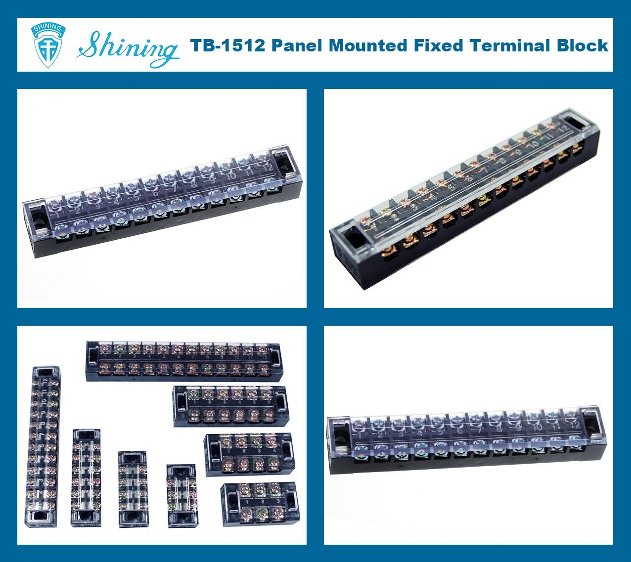 TB-1512 Panel Mounted Fixed Barrier 15A 12 Pole Terminal Block