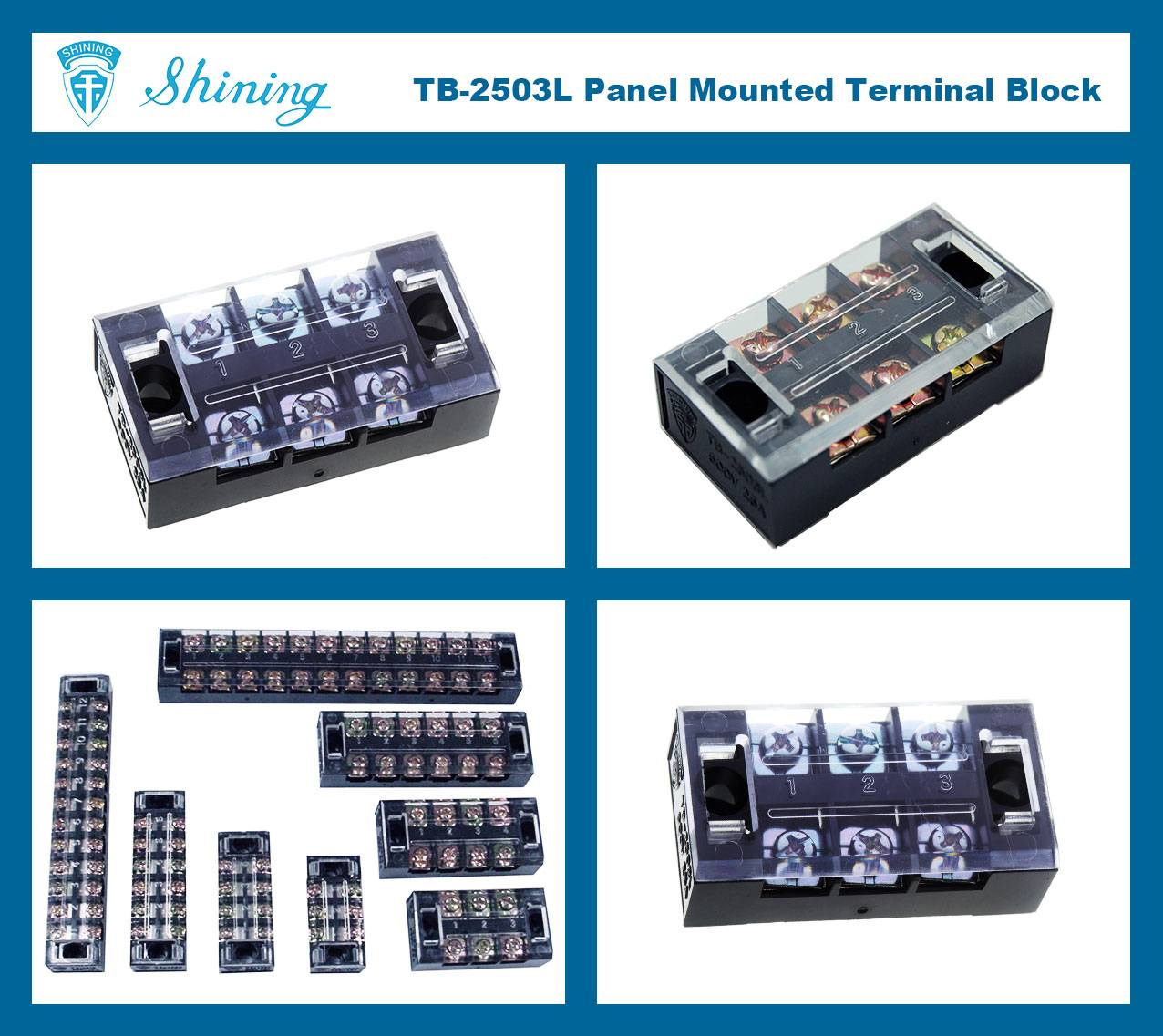 TB-2503L Panel Mounted Fixed Barrier 25A 3 Pole Terminal Block