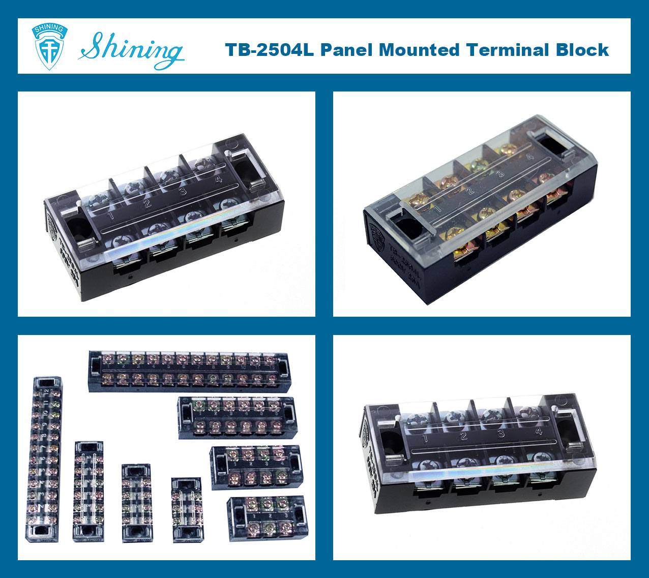 TB-2504L Panel Mounted Fixed Barrier 25A 4 Pole Terminal Block