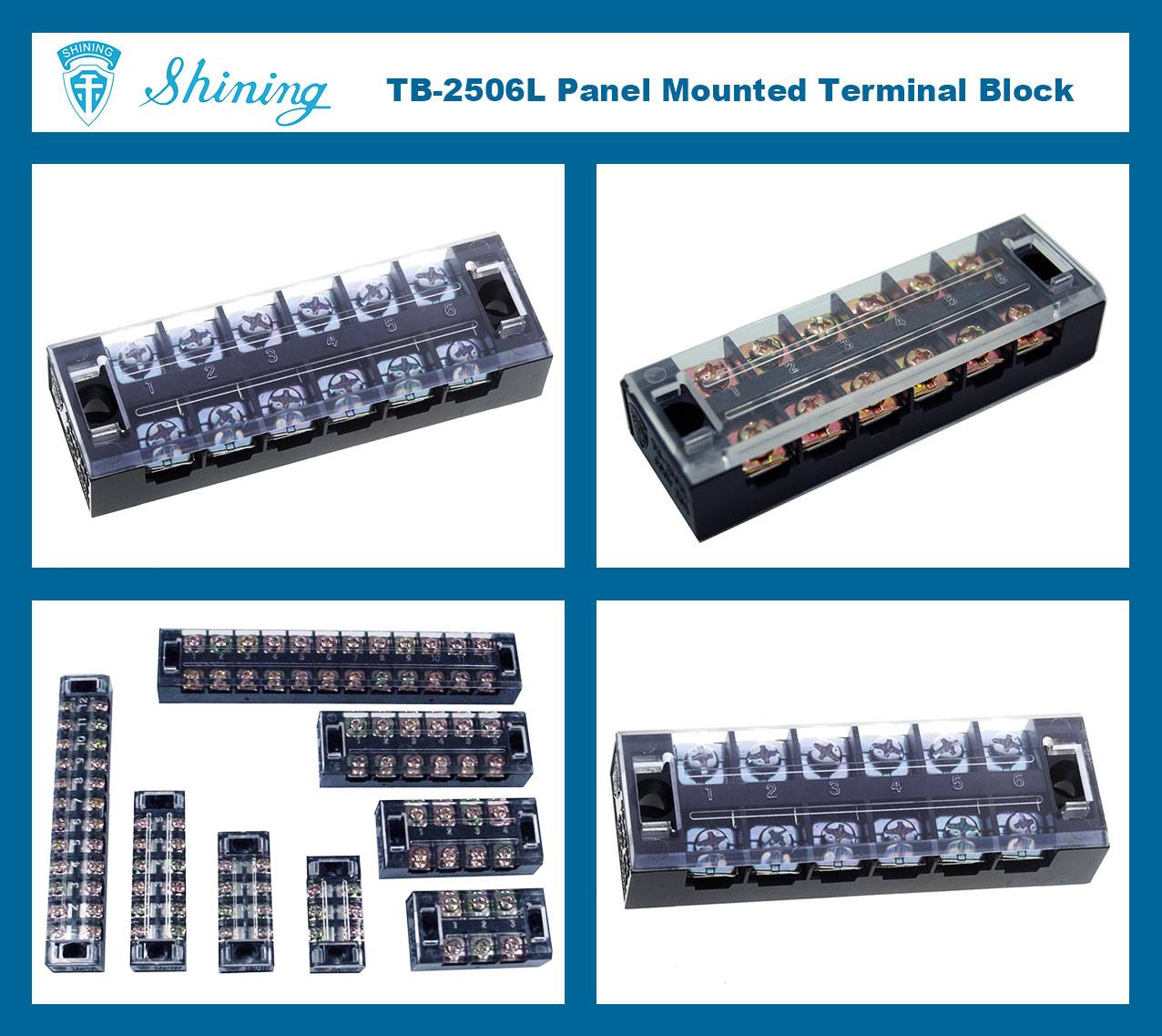 TB-2506L Panel Mounted Fixed Barrier 25A 6 Pole Terminal Block