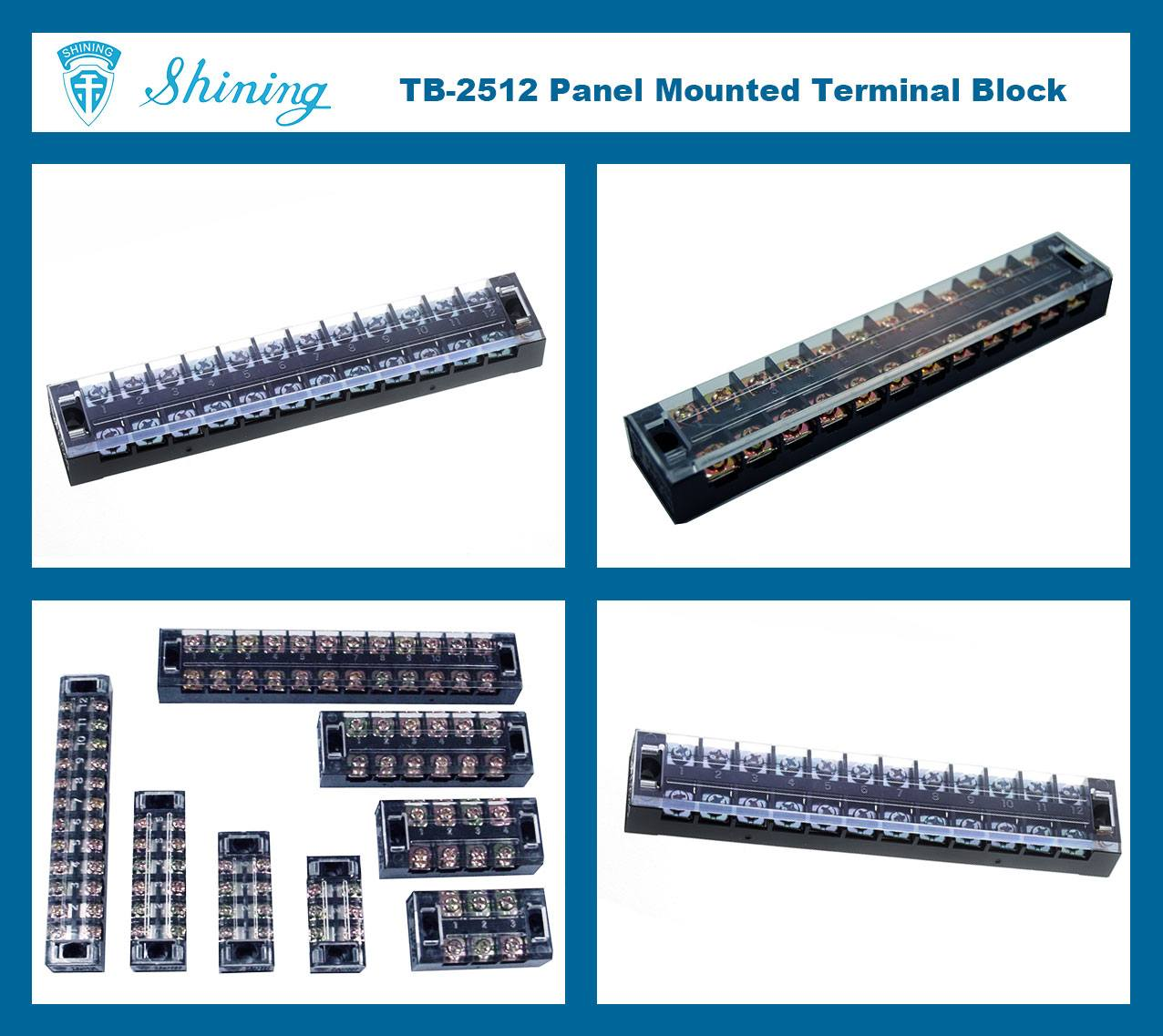 TB-2512 Panel Mounted Fixed Barrier 25A 12 Pole Terminal Block