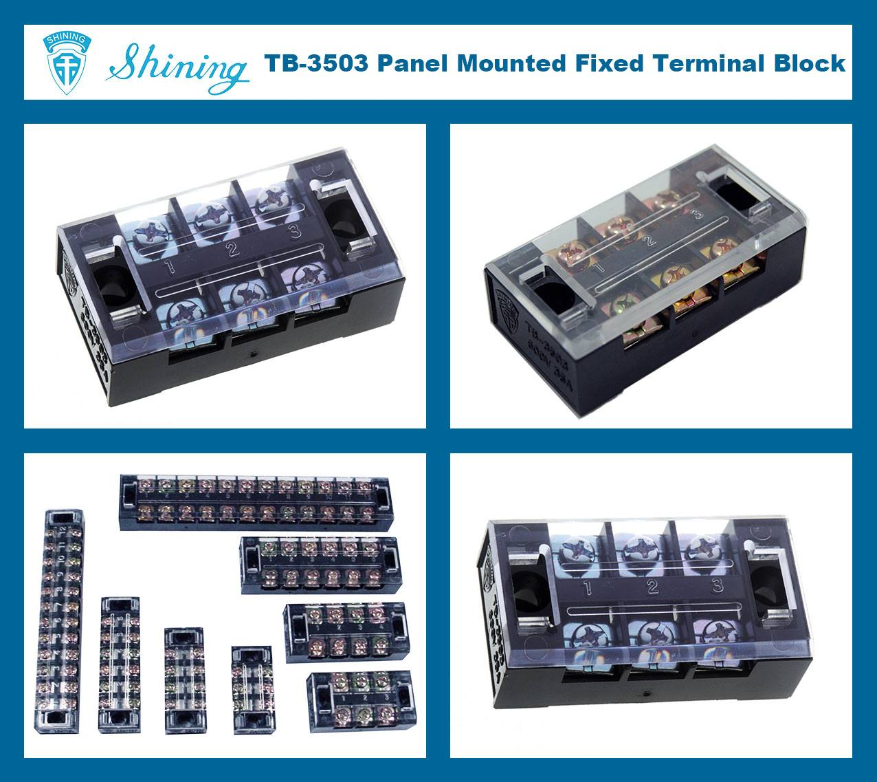 TB-3503 Panel Mounted Fixed Barrier 35A 3 Pole Terminal Block