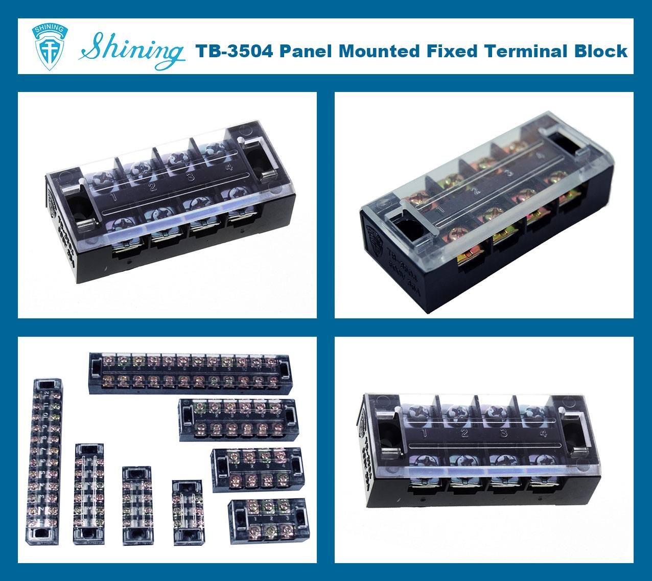 TB-3504 Panel Mounted Fixed Barrier 35A 4 Pole Terminal Block