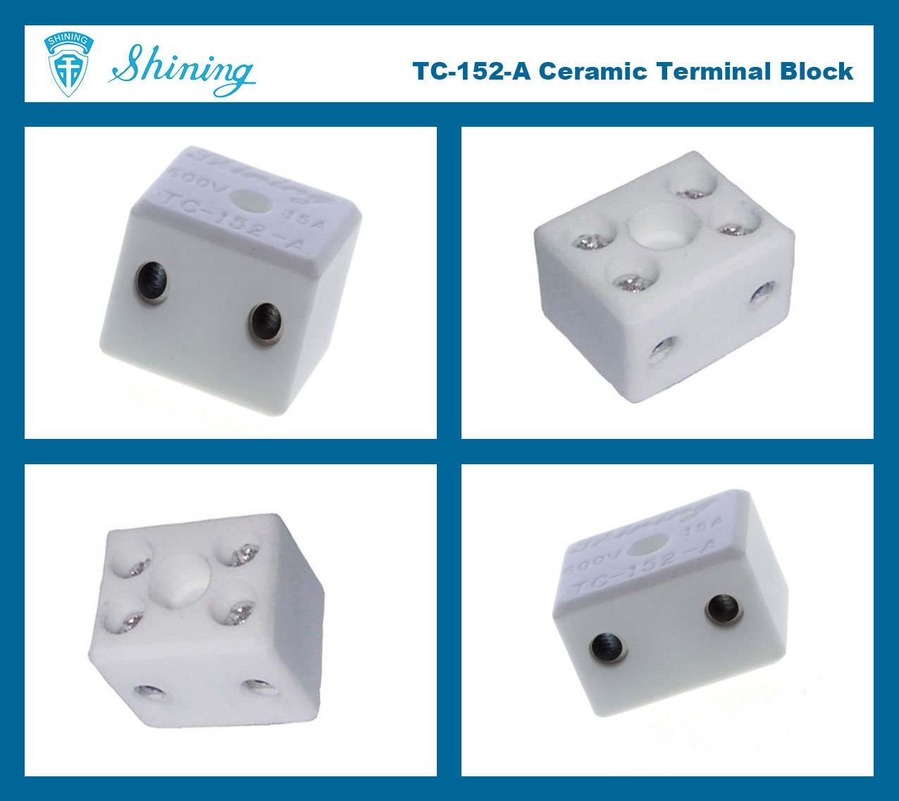 TC-152-A Panel Mounted 600V 15A 2 Pole Ceramic Terminal Block