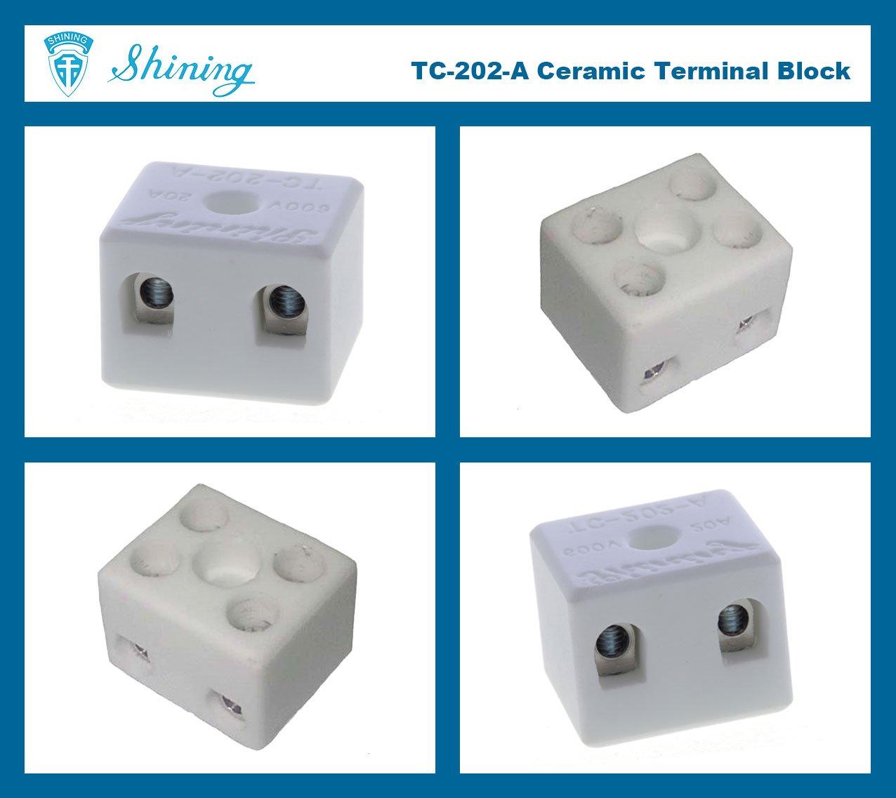 TC-202-A Panel Mounted 600V 20A 2 Pole Ceramic Terminal Block