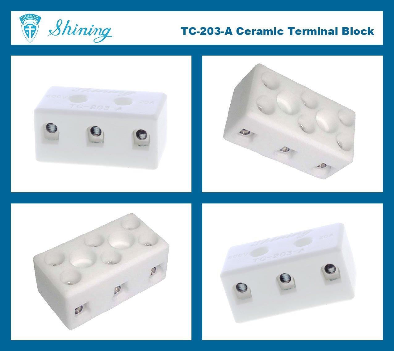 TC-203-A Panel Mounted 600V 20A 3 Pole Ceramic Terminal Block