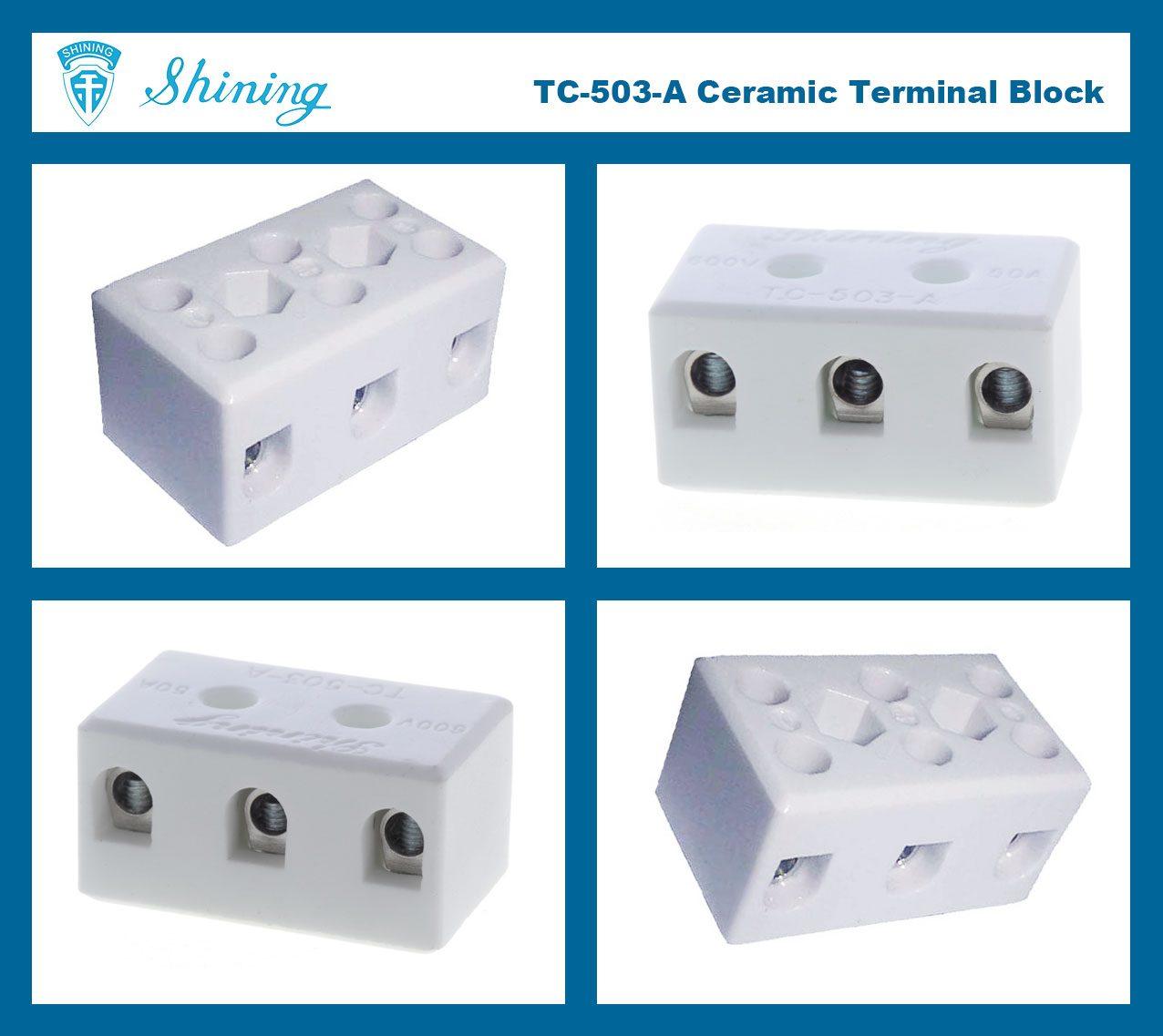 TC-503-A Panel Mounted 600V 50A 3 Pole Ceramic Terminal Block