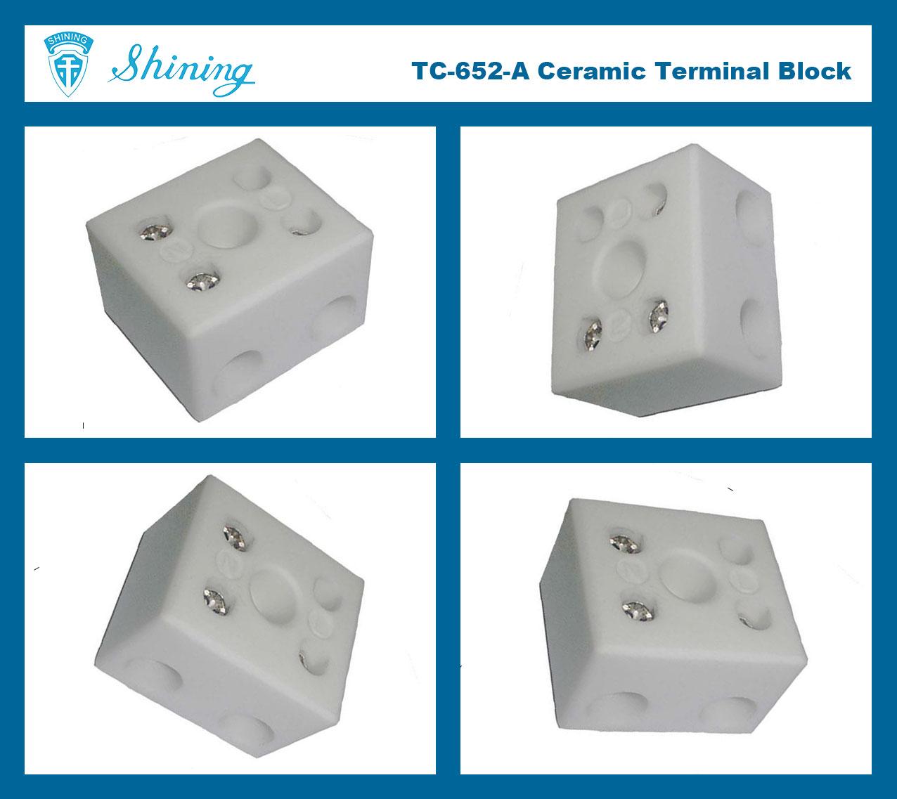 TC-652-A Panel Mounted 600V 65A 2 Pole Ceramic Terminal Block