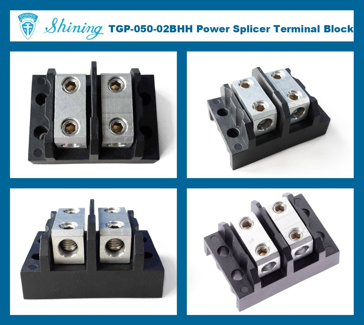 TGP-050-02BHH 600V 50A 2 Way Power Splicer Terminal Block