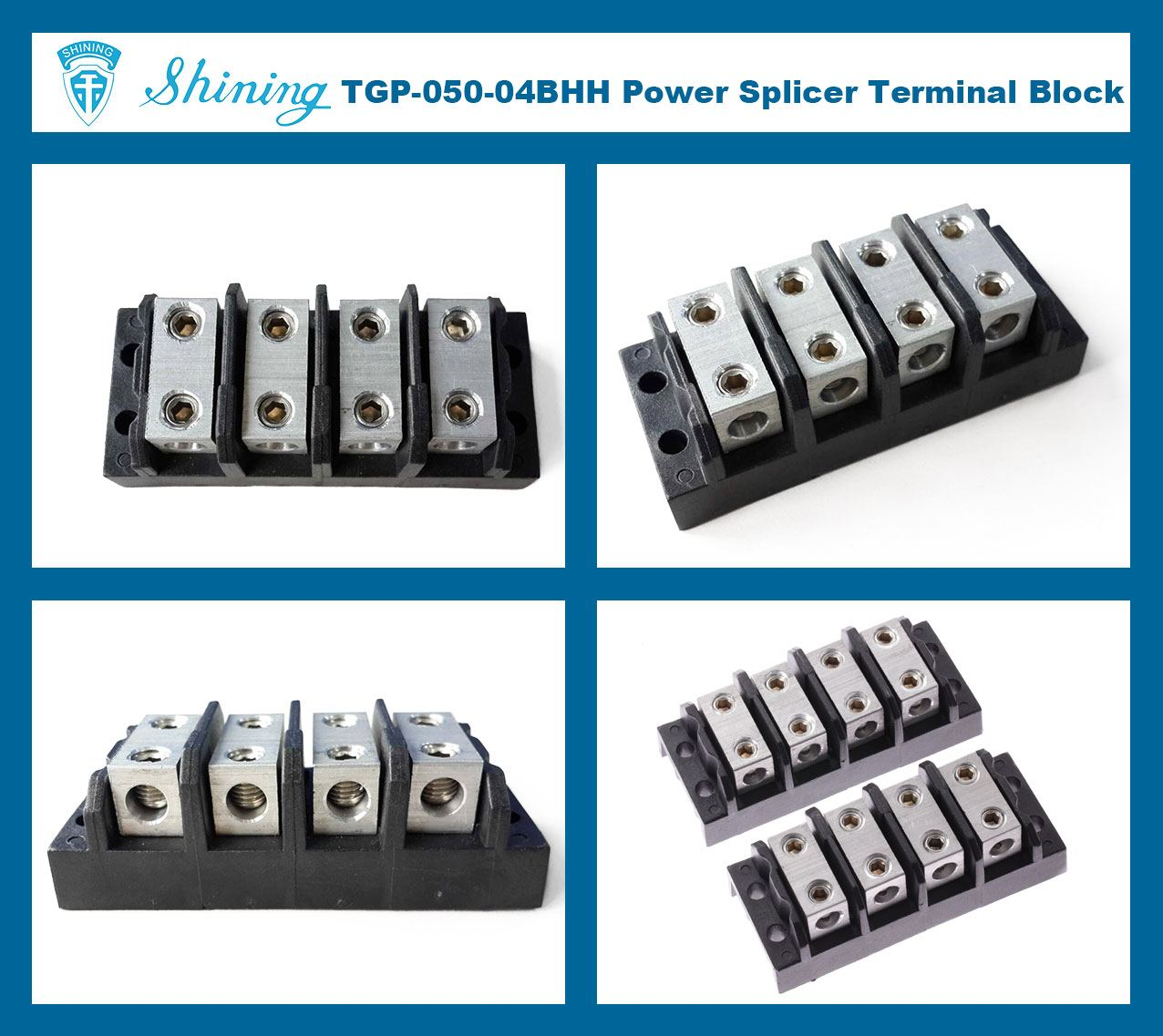 TGP-050-04BHH 600V 50A 4 Way Power Splicer Terminal Block