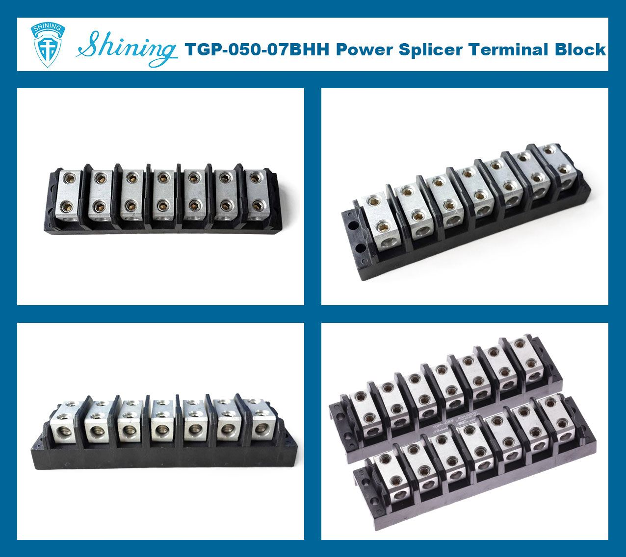 TGP-050-07BHH 600V 50A 7 Way Power Splicer Terminal Block