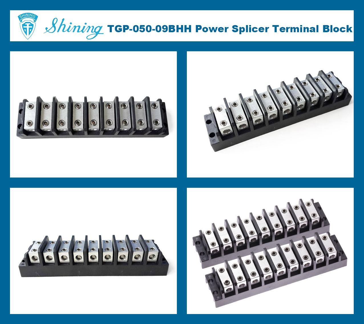 TGP-050-09BHH 600V 50A 9 Way Power Splicer Terminal Block