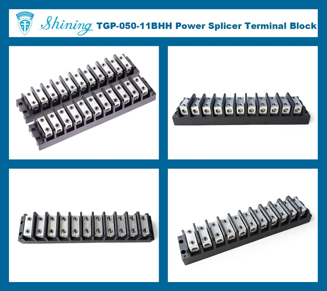 TGP-050-11BHH 600V 50A 11 Way Power Splicer Terminal Block